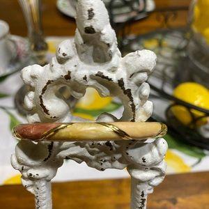 Vintage enamel hinged bracelet. Ivory, gold, rose